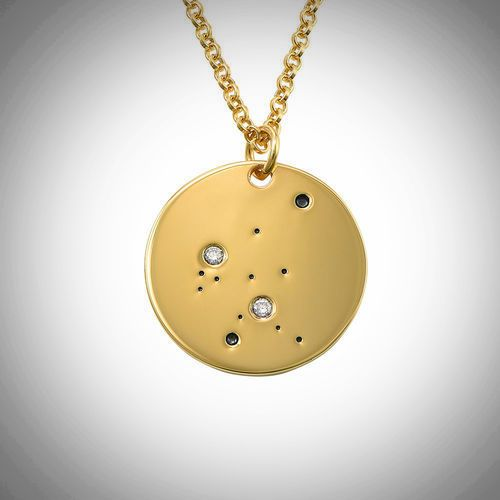 18ct Yellow Gold Plated Zodiac Aquarius Constellation Diamond Necklace
