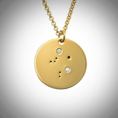 18ct Yellow Gold Plated Zodiac Libra Constellation Diamond Necklace