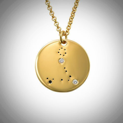 18ct Yellow Gold Plated Zodiac Pisces Constellation Diamond Necklace