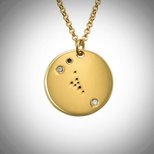 18ct Yellow Gold Plated Zodiac Taurus Constellation Diamond Necklace