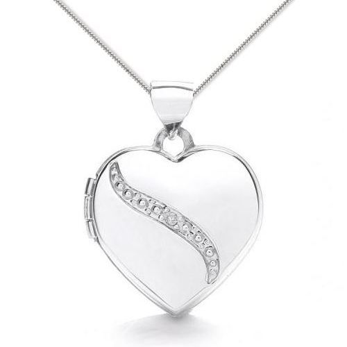 9ct White Gold Diamond Detail Heart Locket