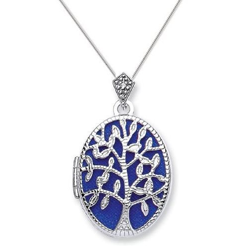 9ct White Gold Tree Of Life Oval Locket