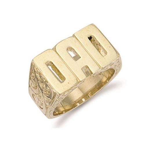 9ct Yellow Gold 12.0g Patterned Sides Dad Ring
