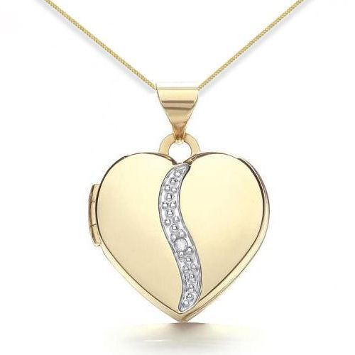 9ct Yellow Gold Diamond Swirl Heart Locket