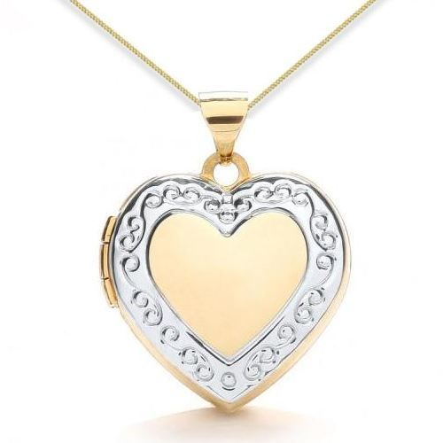 9ct Yellow Gold & White Gold Edge Detail Heart Locket