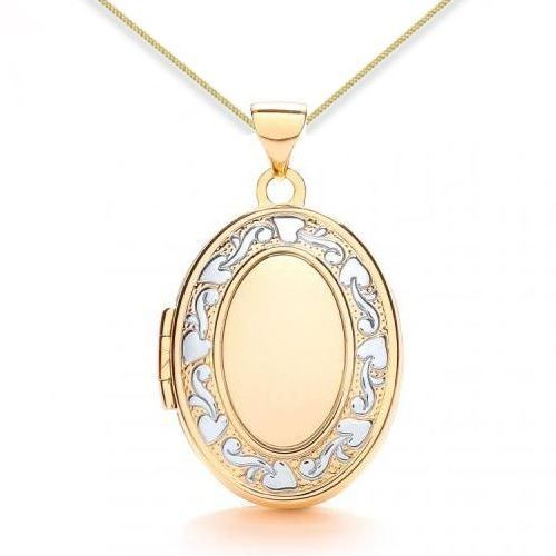 9ct Yellow Gold & White Gold Floral Edged Oval Locket