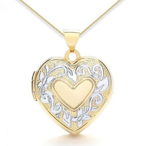 9ct Yellow Gold & White Gold Flower Detail Heart Family Locket