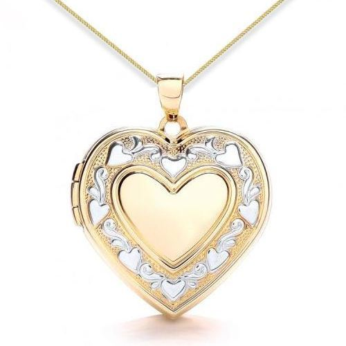 9ct Yellow Gold & White Gold Heart Edge Detail Heart Locket
