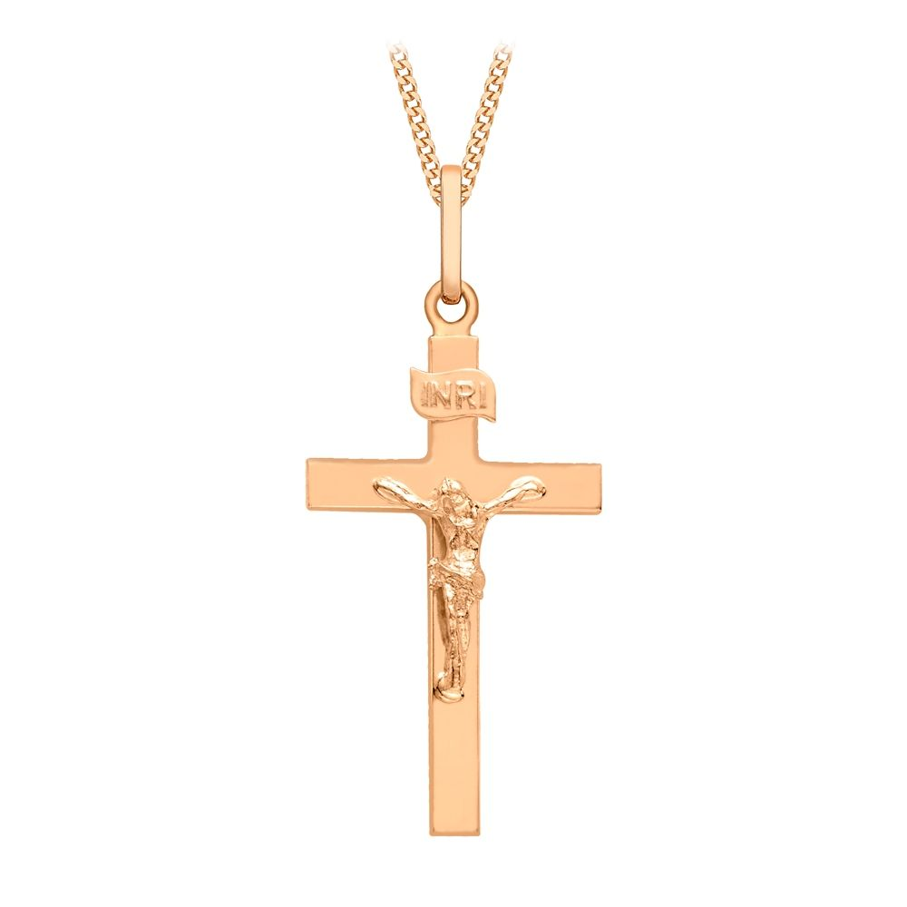 9ct Rose Gold Polished Crucifix Pendant