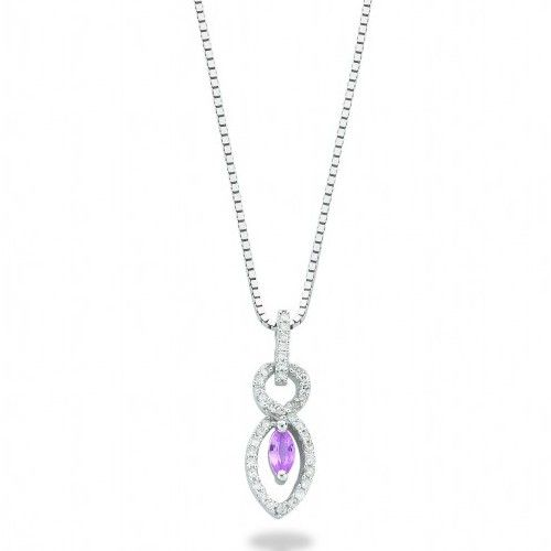 9ct White Gold 0.21ct Diamond & 0.27ct Pink Sapphire Drop Pendant