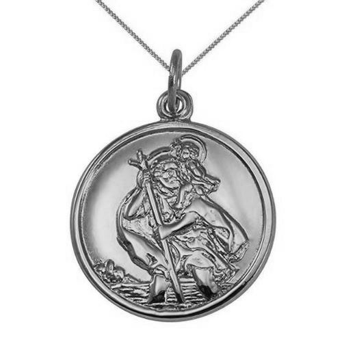 9ct White Gold 22mm Round St Christopher Pendant Necklace