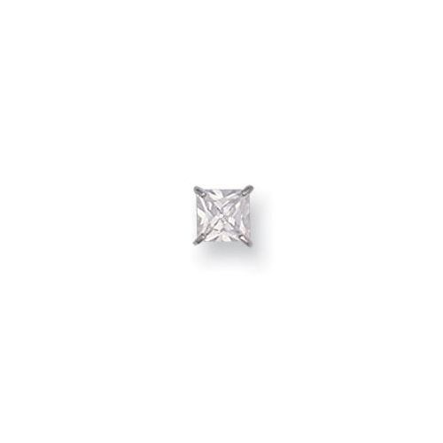9ct White Gold 6mm Claw Set Princess Cut Cubic Zirconia Gents Stud Earring