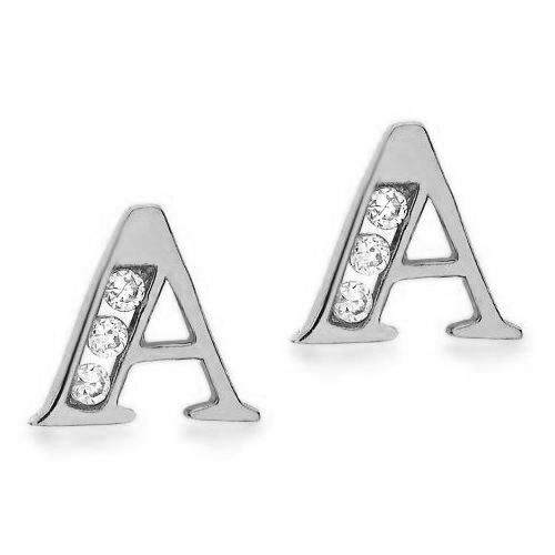 9ct White gold Cubic Zirconia Initial Stud Earrings