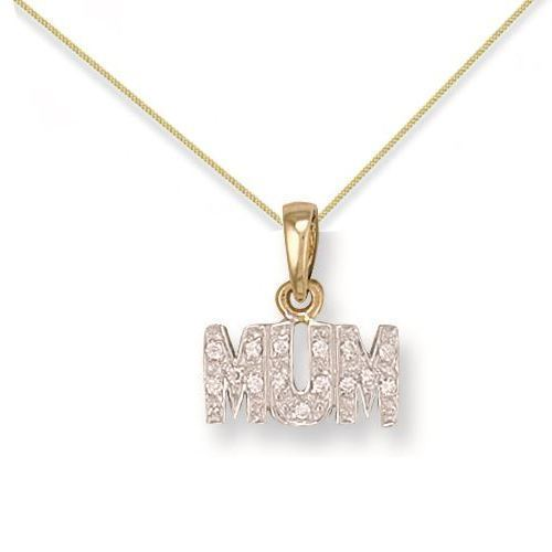 9ct Yellow Gold 1.3g Cubic Zirconia Mum Pendant