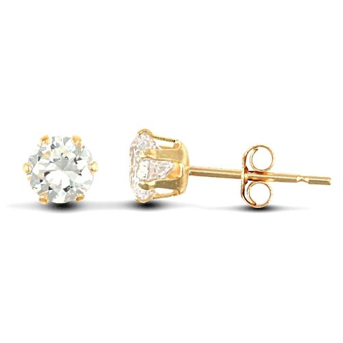9ct Yellow Gold 4mm Claw Set Cubic Zirconia Stud Earrings