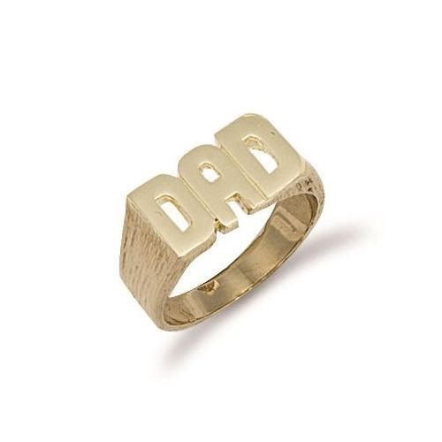 9ct Yellow Gold 7.0g Barked Sides Dad Ring