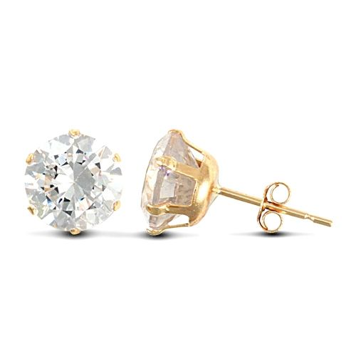 9ct Yellow Gold 7mm Claw Set Cubic Zirconia Stud Earrings