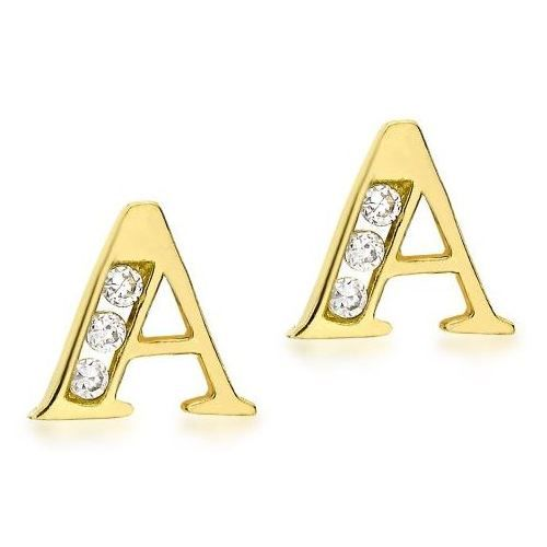9ct Yellow Gold Initial Cubic Zirconia Stud Earrings