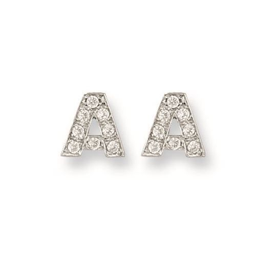 9ct Yellow Gold Initial CZ Stud Earrings