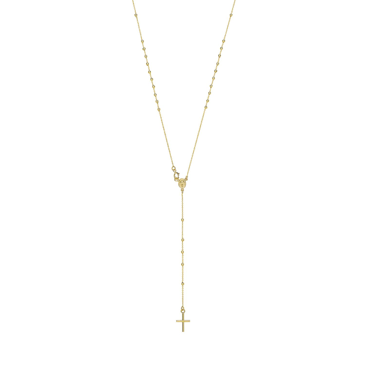 9ct Yellow Gold Ladies 18 Inch Rosary Bead Cross Necklace