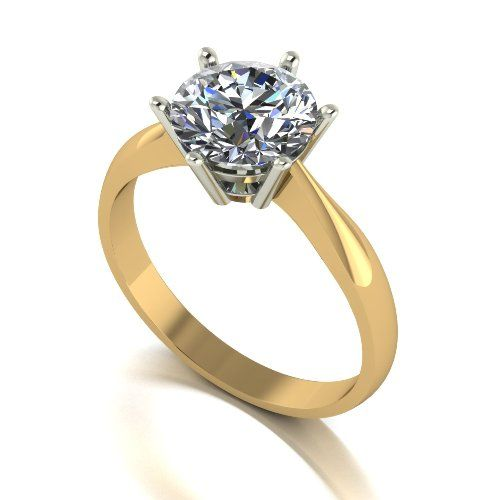 Forever One Moissanite 18ct Yellow Gold 2.00 Carat Round Brilliant Solitaire Ring
