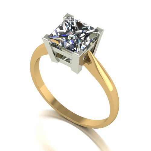 Forever One Moissanite 18ct Yellow Gold 2.00 Carat Square Cut Ring