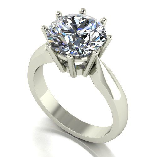 Forever One Moissanite Platinum 4.00 Carat Round Brilliant Solitaire Ring