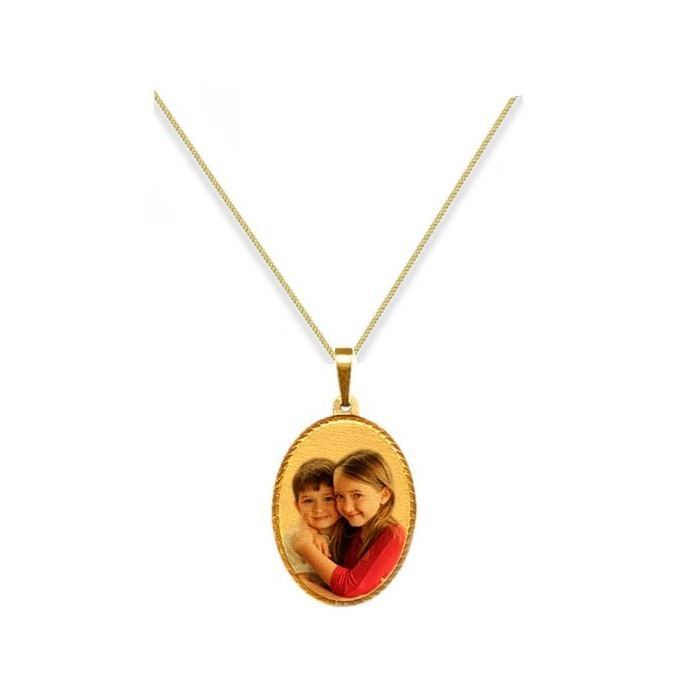 Personalised 9ct Yellow Gold Large Oval Photograph Pendant
