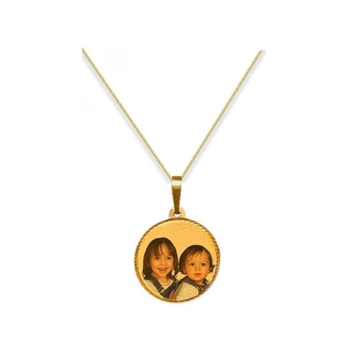Personalised 9ct Yellow Gold Small Round Photograph Pendant
