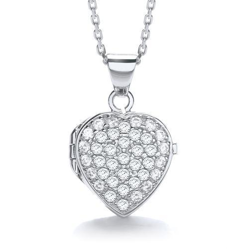 Sterling Silver Cubic Zirconia Heart Shaped Locket