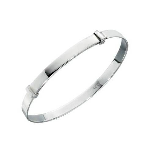 Sterling Silver Plain Childrens Expander Bracelet