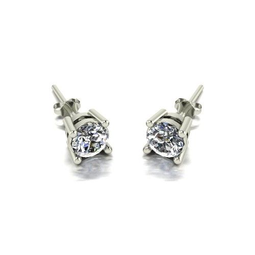 Forever One Moissanite 18ct White Gold 1.00 Carat Four Claw Solitaire Earrings