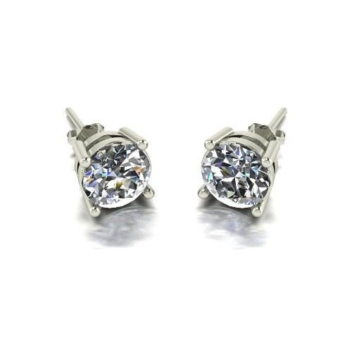 Forever One Moissanite 18ct White Gold 2.00 Carat Four Claw Solitaire Earrings
