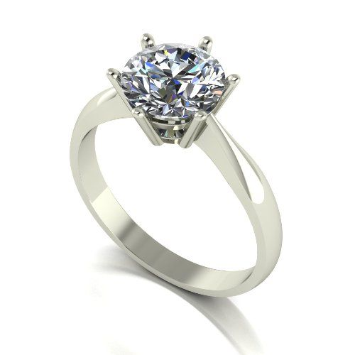 Forever One Moissanite 18ct White Gold 2.00 Carat Round Brilliant Solitaire Ring