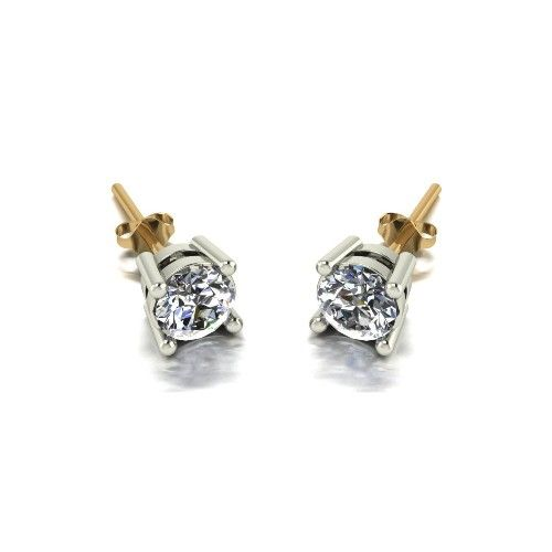 Forever One Moissanite 18ct Yellow Gold 1.00 Carat Four Claw Solitaire Earrings