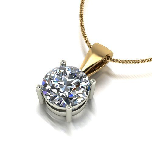 Forever One Moissanite 18ct Yellow Gold 2.00 Carat Single Stone Pendant