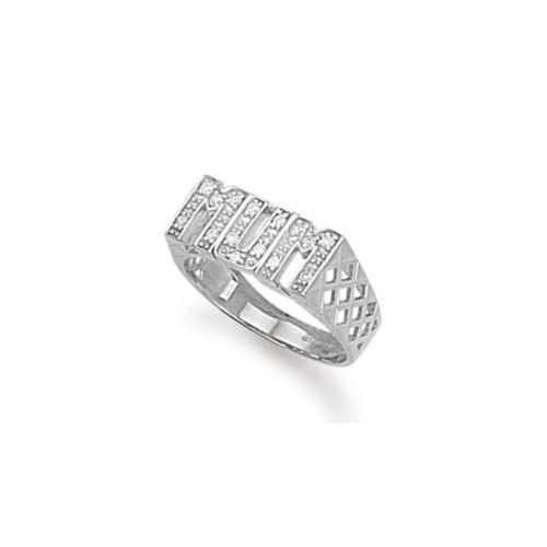 Sterling Silver Basket Sides CZ Mum Ring